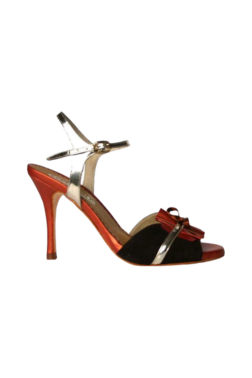 Tango Sandals Rosicler, dark brown suede, orange leather and platinum leather