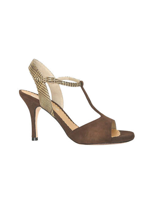 Tango Sandals Rosalba, tan suede and gold/tan leather