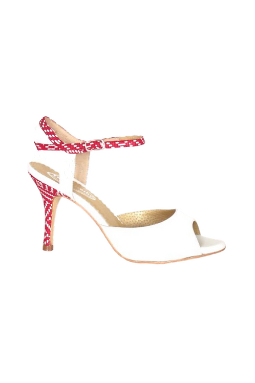 Tango Sandals Cristina, white patent leather and burgundi with white leather