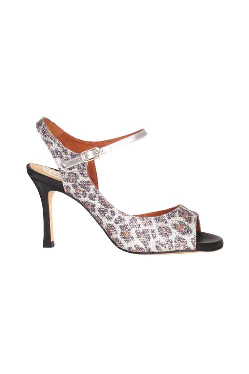 Tango Sandal in silver glitter with LEO pattern