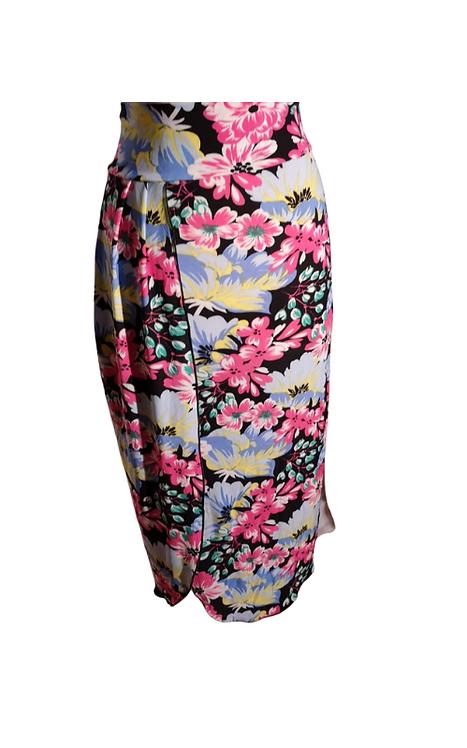 Skirt Moira in black microfibra with flowers