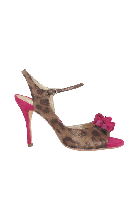 TITA in pink suede and bronce leo print suede 19-56a-83 85mm LIMITED EDITION