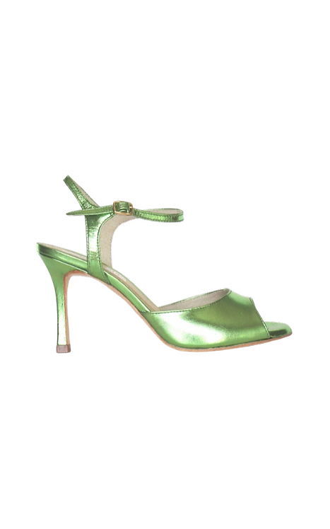 AURORA made of metallic green leather 19-21-15 heel 75mm