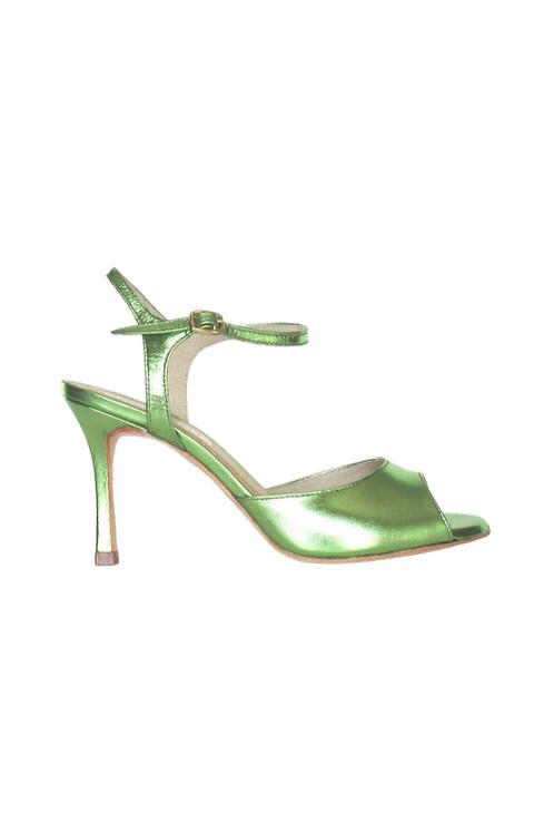 Tango Sandals Aurora, Green metalic leather