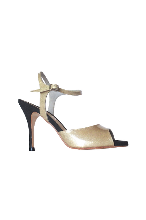 Tango Sandals Aurora, gold glitter patent leather and white iridescent suede