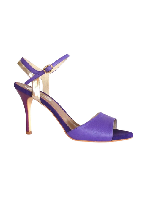 Tango Sandals María, violet grained leather, platinum leather & black suede