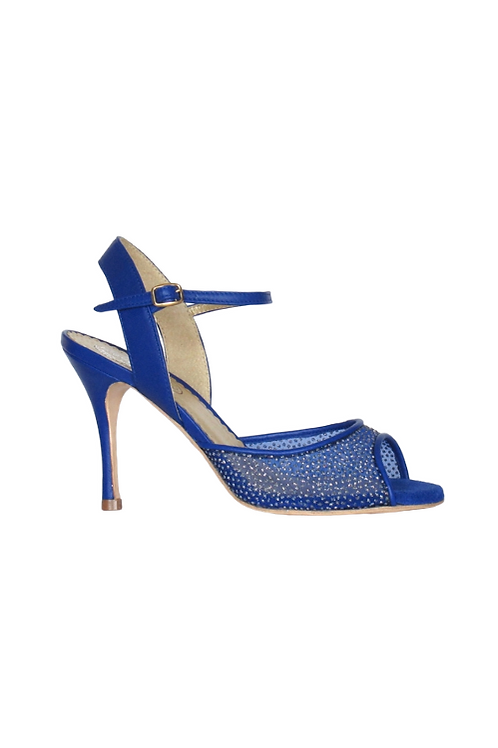 Tango Sandals Arlette, royal blue net with glitter and blue leather