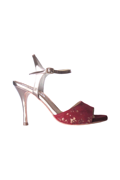 Tango Sandals Soledad, burgundi suede with gold flowers and burgundi leather