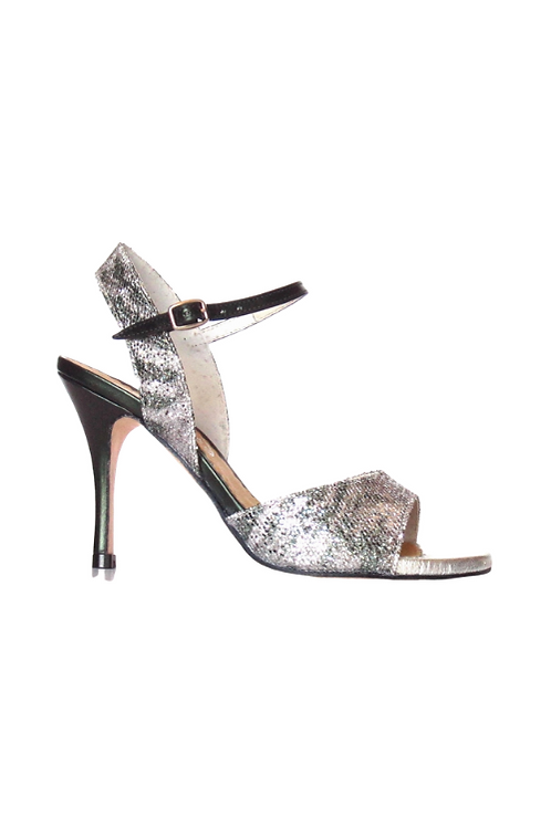 Tango Sandals Pepa, glitter, silver leather & dark green laminated leather
