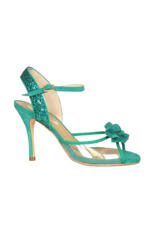 Tango Sandals Jazmín, PVC, green glitter , Green suede and green grosgrain