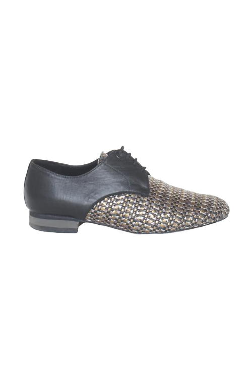 Men's tango shoes Tanguero, gold/silver braided leather and black leather
