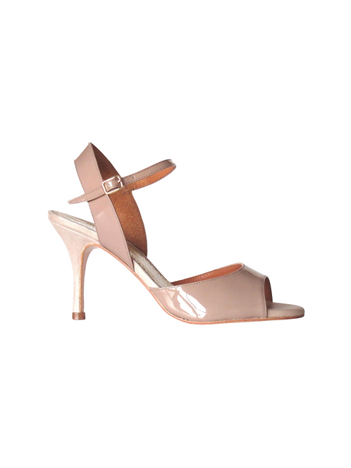 Tango Sandals Marisol, nude patent leather and black suede with silver pois