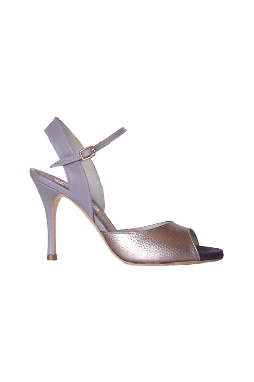 Tango Sandals Silvina, lilac grained leather, lilac leather and violet suede
