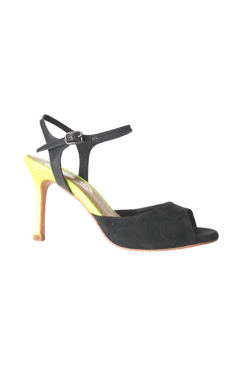 Tango Sandals Aurora, gray suede, gray patent leather and yellow fluo leather