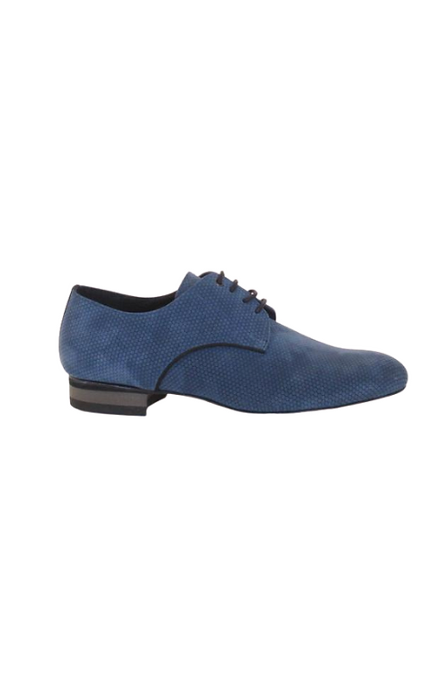 Men's tango shoes Tanguero, blue suede with pattern