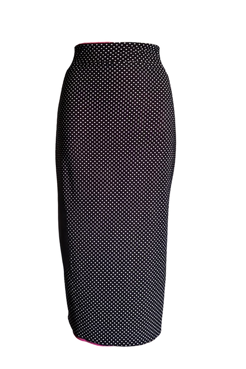 Black skirt in microfibra with white dots