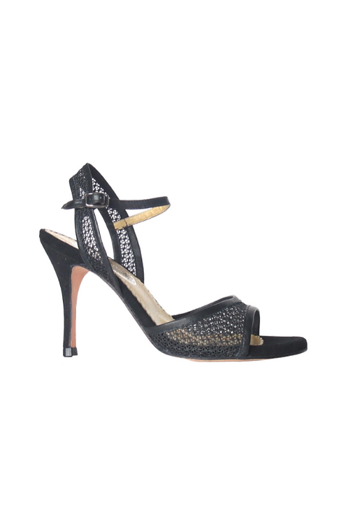 Tango Sandals Claudia, black lace, black leather and black suede