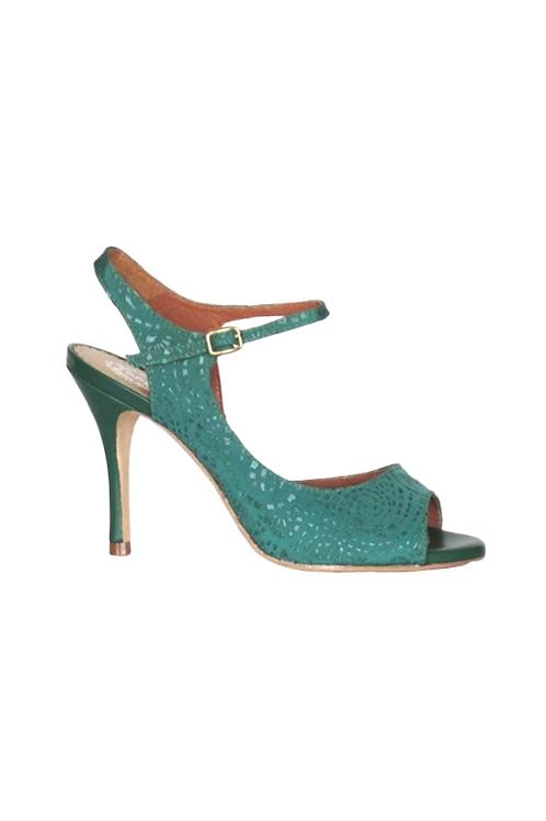Tango Sandal in green textile