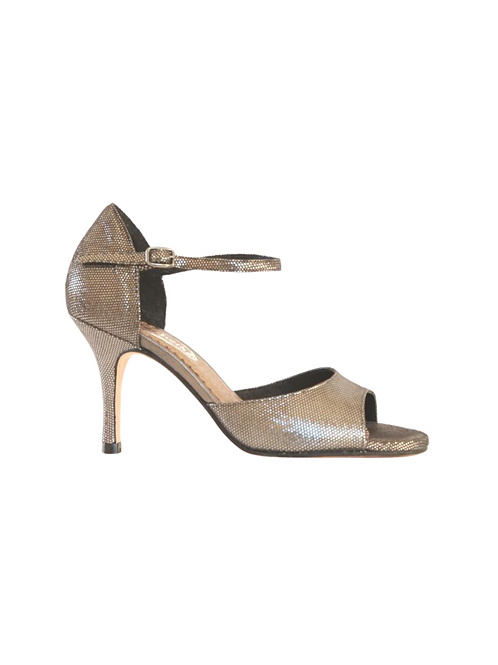 Tango Sandals Luba, pewter honeycomb and silver leather
