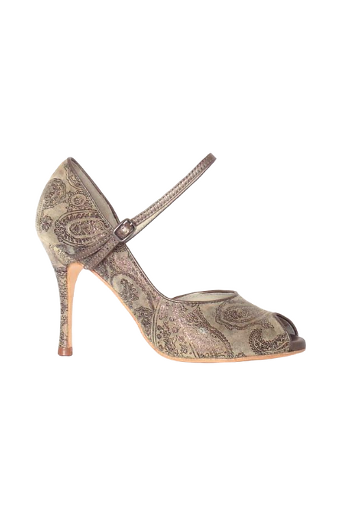 Tango Pumps Nelly, tan paisley leather and tan metalic leather