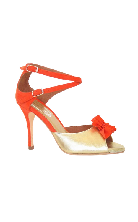 MALENA in soft golden leather and orange suede. 15-117a-36 PREorder