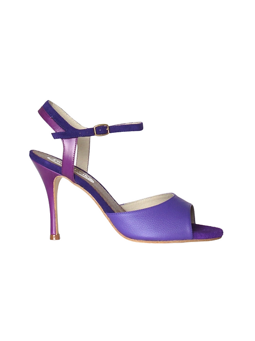 Tango Sandals Lorena, violet grained leather, violet leather and violet suede