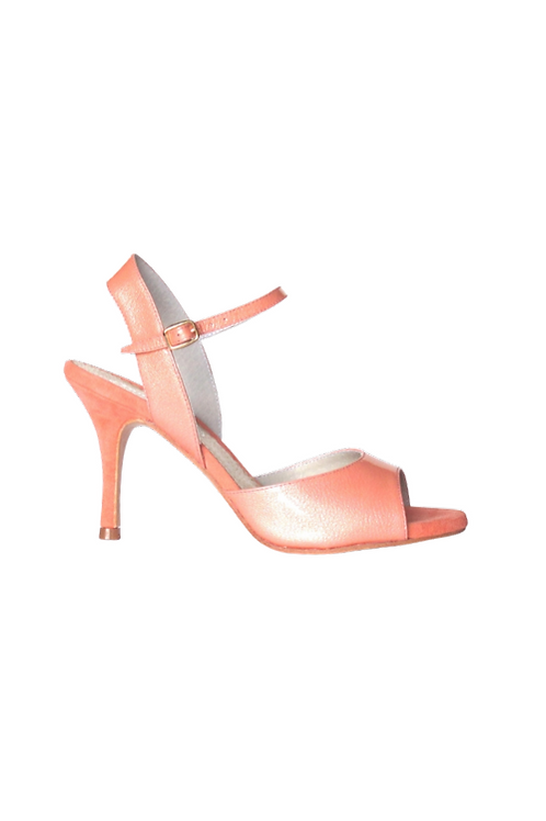 Tango Sandals Marisol, coral patent leather and coral suede