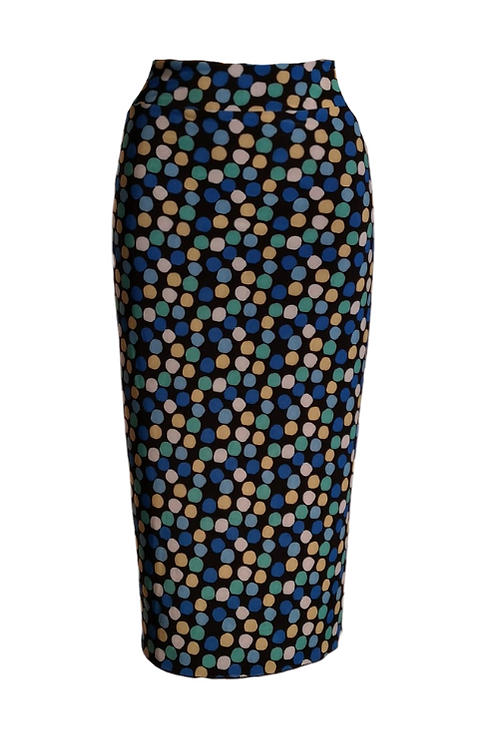 Skirt in microfibrawith mulitcolor dots