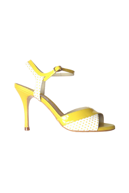 Tango Sandals Ludmila, white leather with yellow pois and yellow patent leather