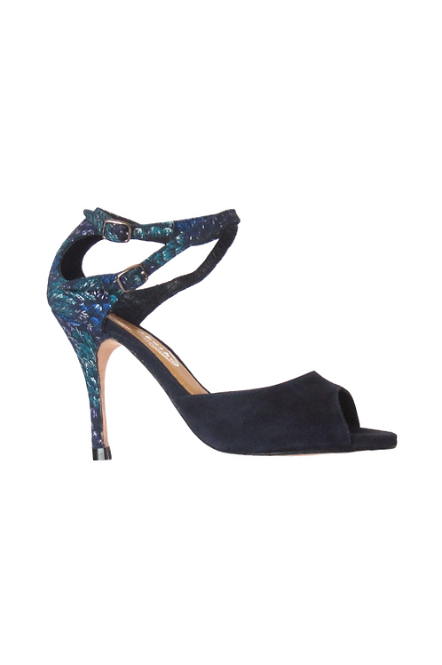 Tango Sandals Malena, blue suede and blue suede with multicolor pattern