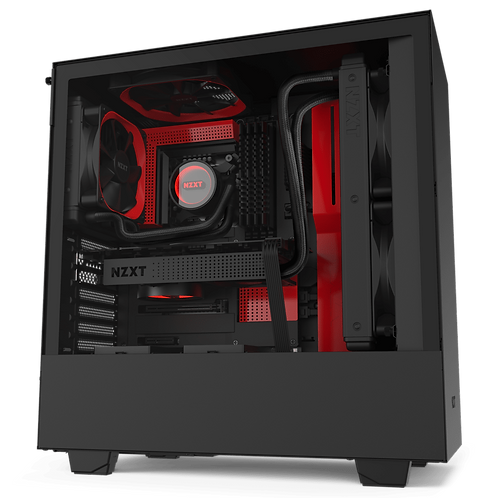 NZXT Matte Black & Red H510 Mid Tower Chassis