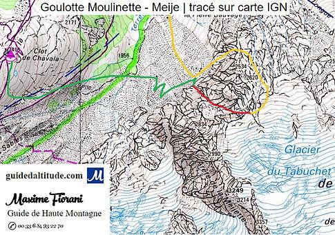 Itinéraire sur carte IGN du couloir N-NW du Col du Grand Van au Taillefer