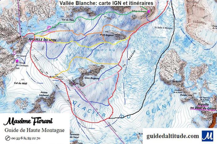 Tracé sur carte IGN des itinéraires de la Vallée Blanche en ski, avec un Guide de Haute Montagne