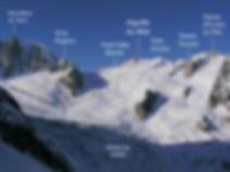 Topo photo des itinéraires de la Vallée Blanche en ski, avec un Guide de Haute Montagne