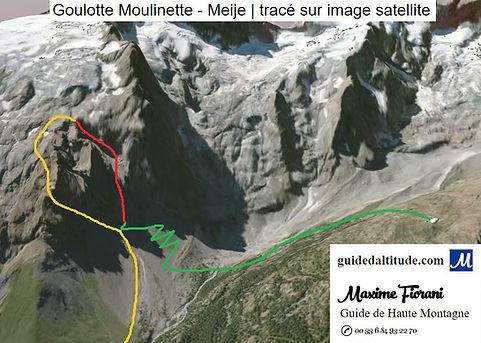 Goulotte moulinette la grave la meije, itinéraire sur image satellite