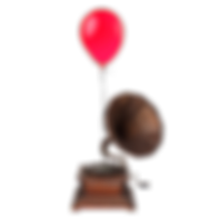 record player with balloon