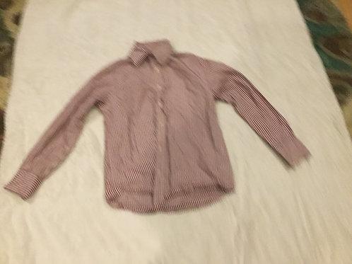 Arizona White Red Stripe Long Sleeve Dress Shirt