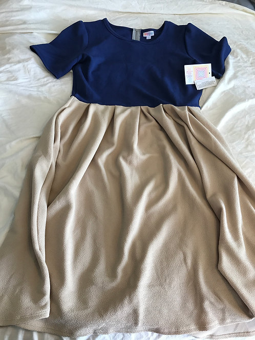Lularoe Amelia NWT XL Blue top tan bottom