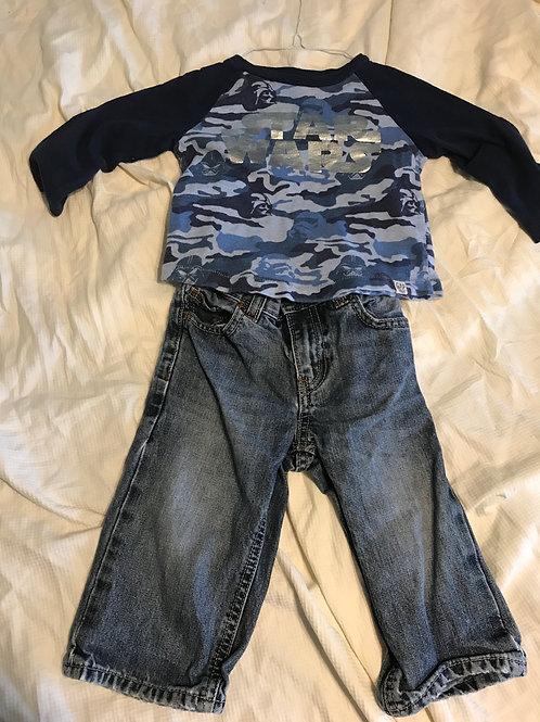 GAP 2pc blue camo LS Star Wars - jeans