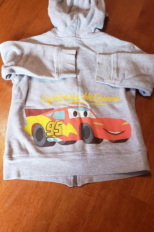 Disney full zip hoodie grey lightning McQueen