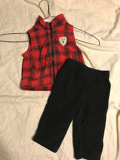 Carters 2pc red/black Vest and pants fleece