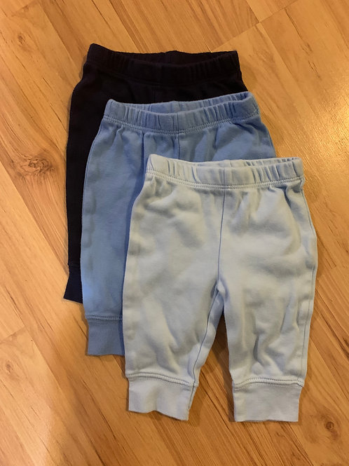 koala baby 3 pair pants, all blues