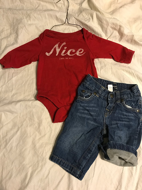 GAP 2pc red LS nice W/ lined jeans