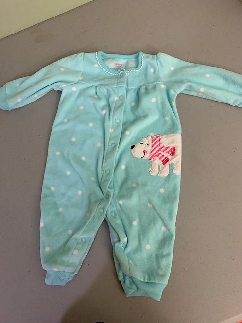 Carters fleece outfit Blue polka dots polar bear