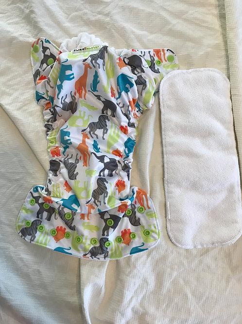 Fuzzibunz cloth w/ insert Colorful zoo print