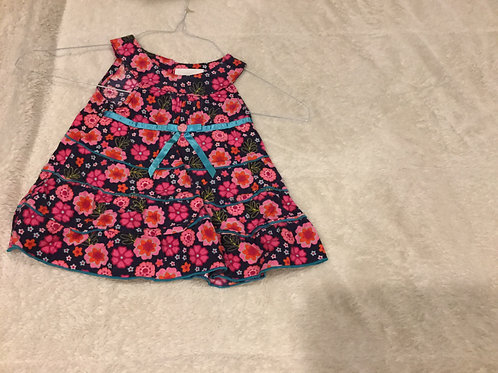 Youngland Cord Dress Blue with Pink Flowers
