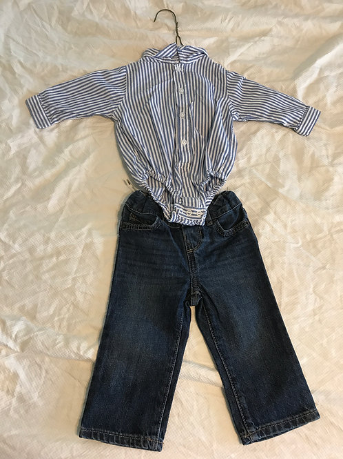 TCP 6-9m button up Blue/white and jeans
