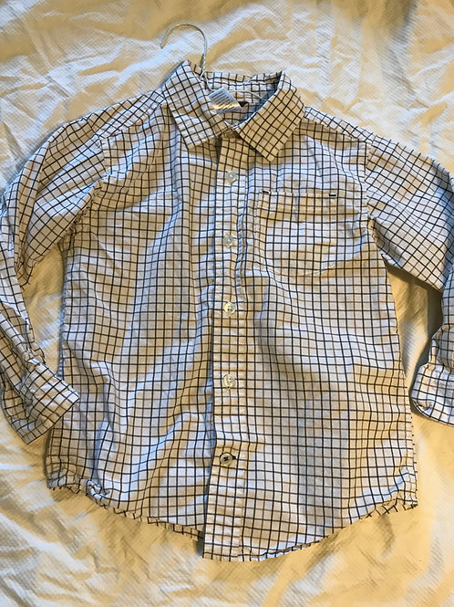 GAP 4T LS button up Blue white box stripe