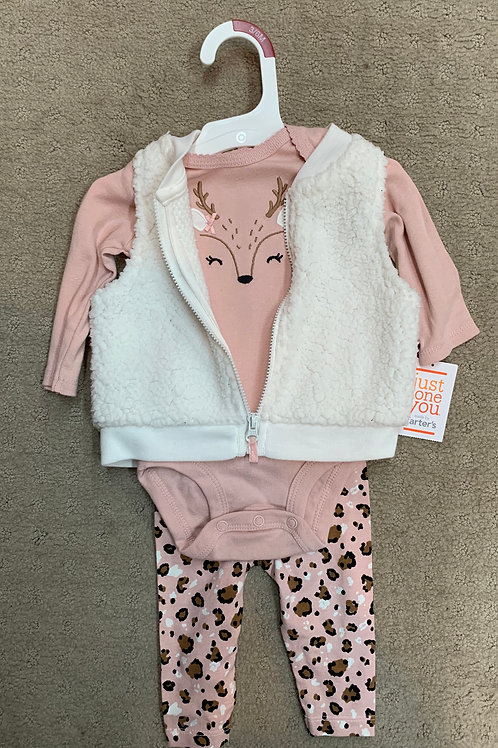 Carters, new w tags pink print w vest 3mo