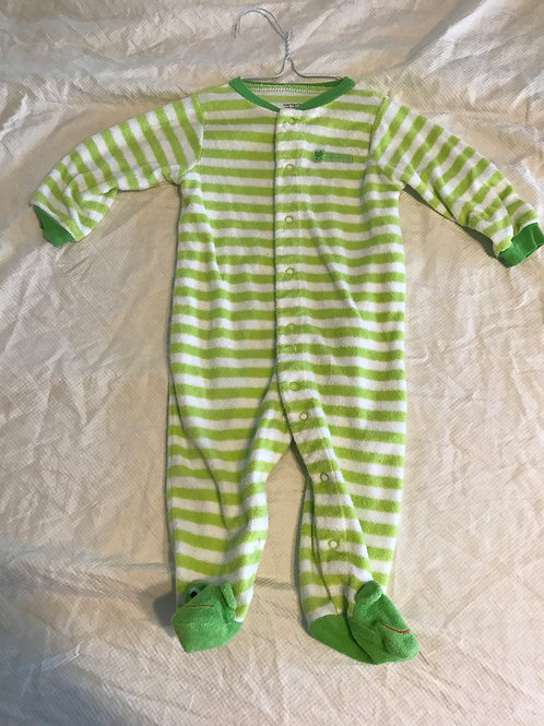 Carters 9m terry pjs Green/white stripe frog